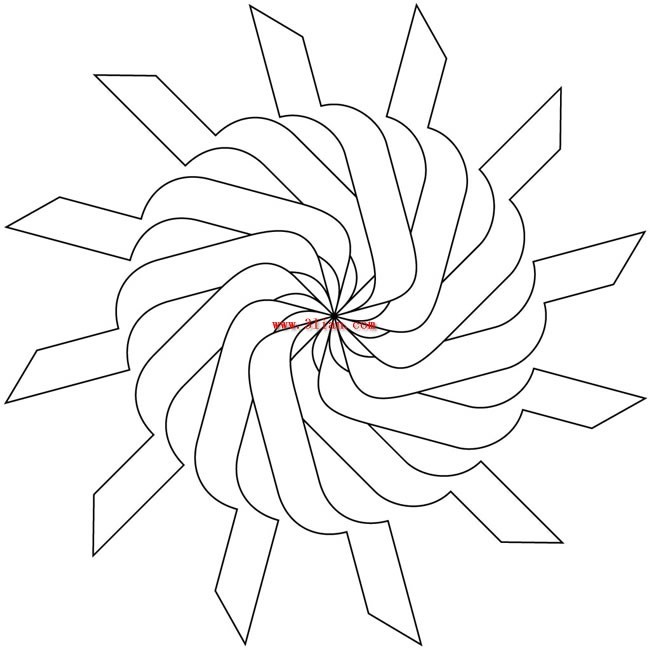 纸盘青花瓷花纹简笔画展示