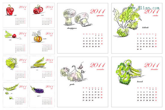 手绘蔬菜2011日历