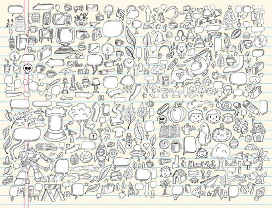 创意手绘卡通美女线稿; 卡通铅笔画线稿对话框矢量图免费下载-千图网