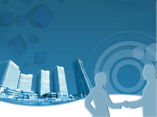 韩国蓝色商务ppt模板