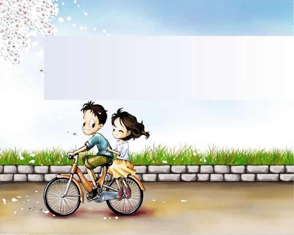 单车情侣卡通ppt模板