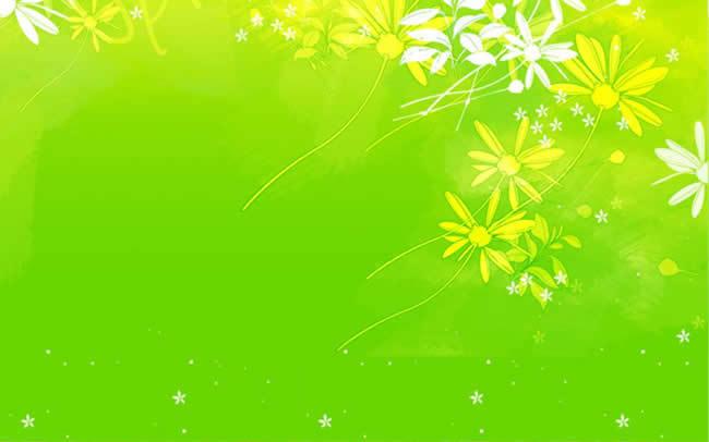 清晰花纹绿色背景ppt模板