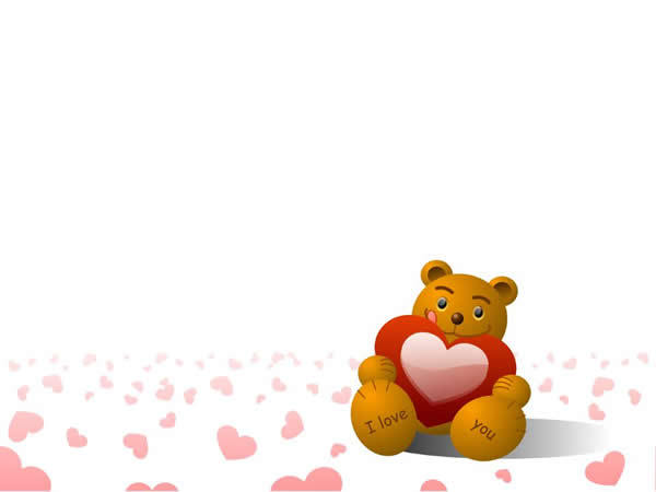 爱心维尼小熊卡通ppt模板