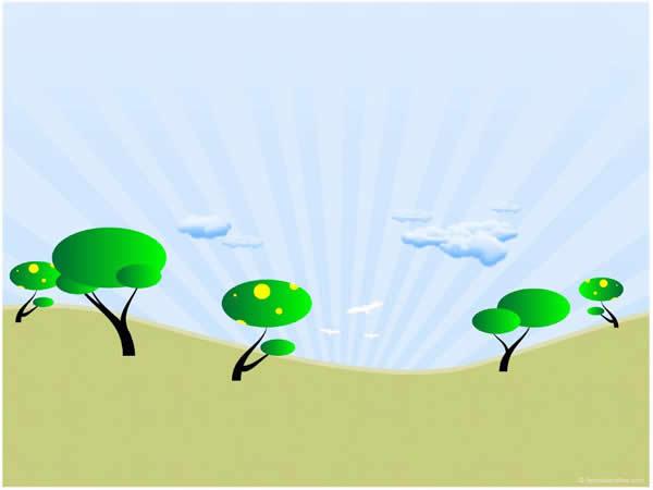 卡通绿树ppt模板