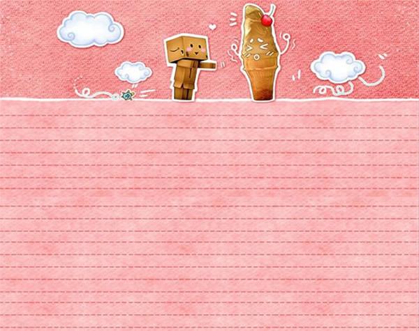 信纸卡通ppt模板免费下载图片
