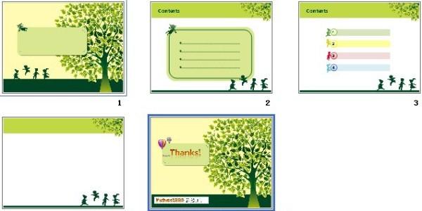 绿色树木ppt模板免费下载