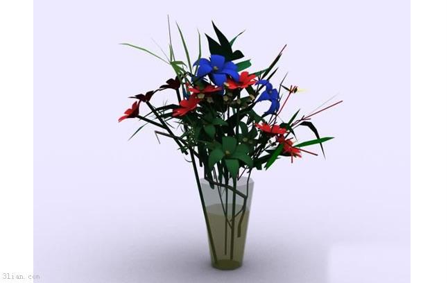 3d花瓶插花模型