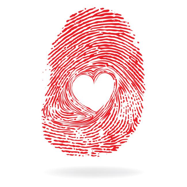 红色心形指纹矢量素材矢量图免费下载