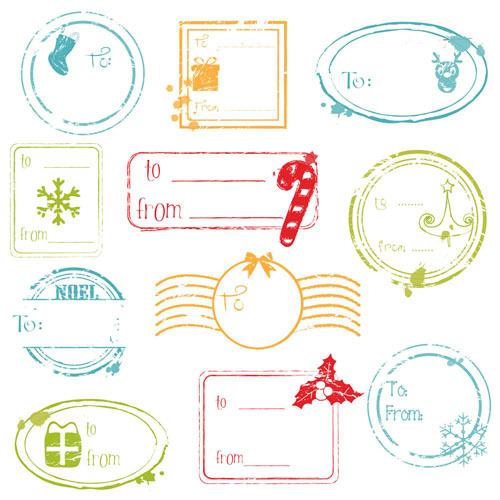 卡通复古邮票矢量素材