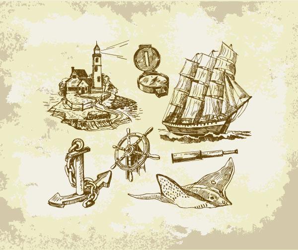 手绘帆船矢量设计素材