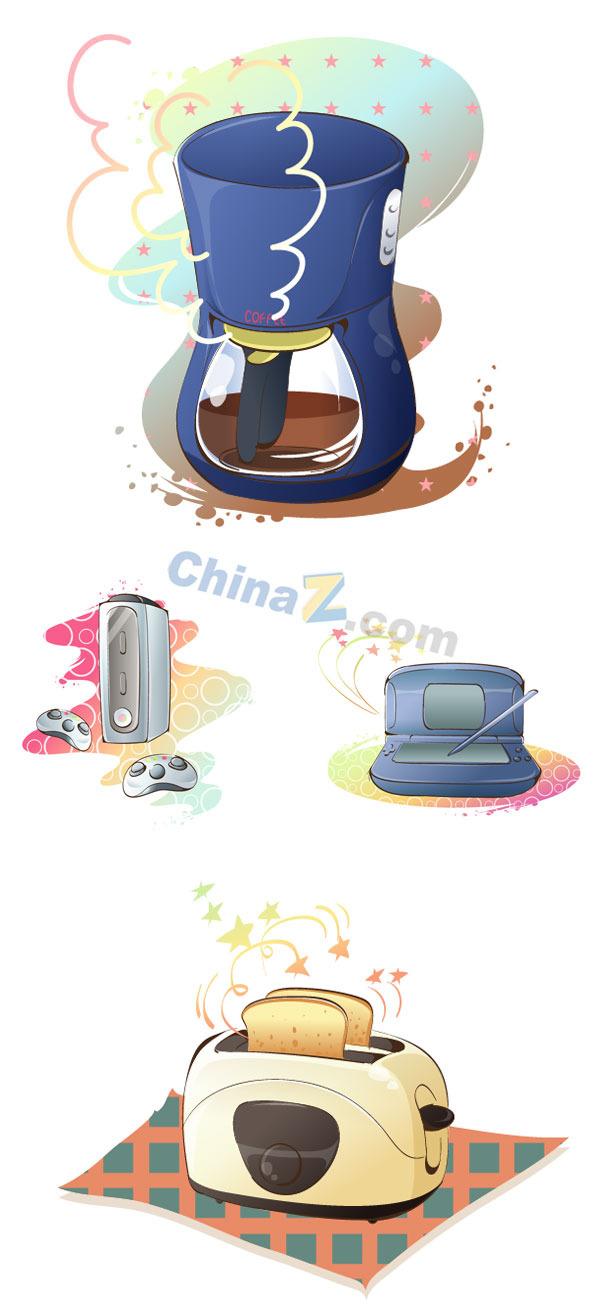 卡通手绘电器矢量素材
