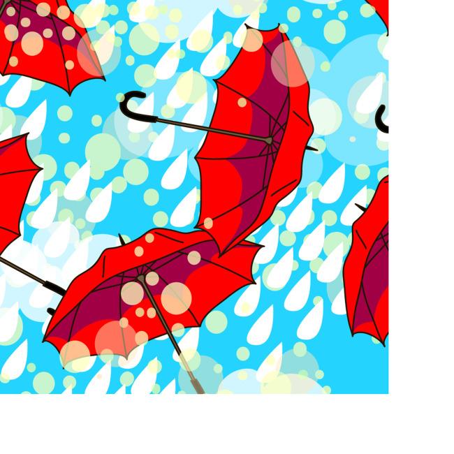手绘插画雨伞矢量背景图