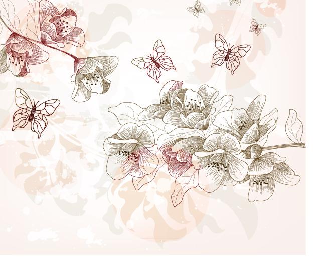 手绘花束蝴蝶矢量素材