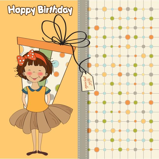 卡通女孩生日贺卡矢量图