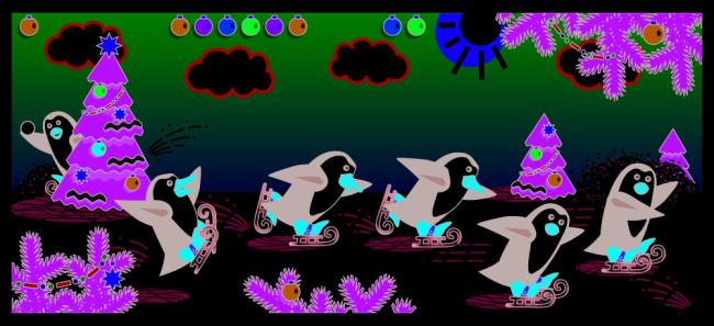 卡通企鹅场景矢量图下载