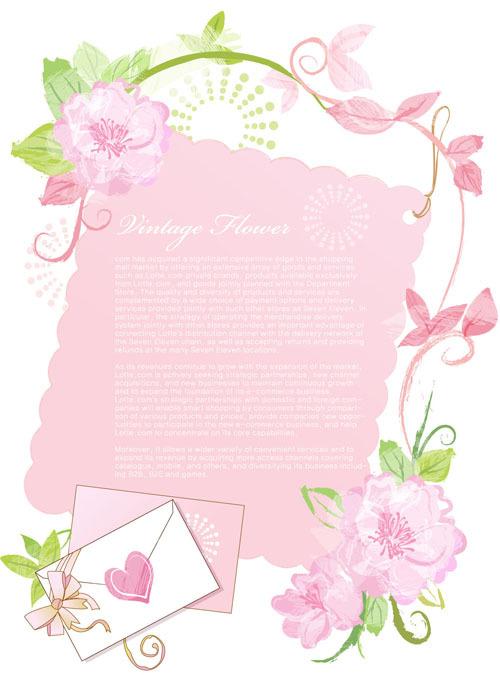 淡雅植物边框信封矢量图下载