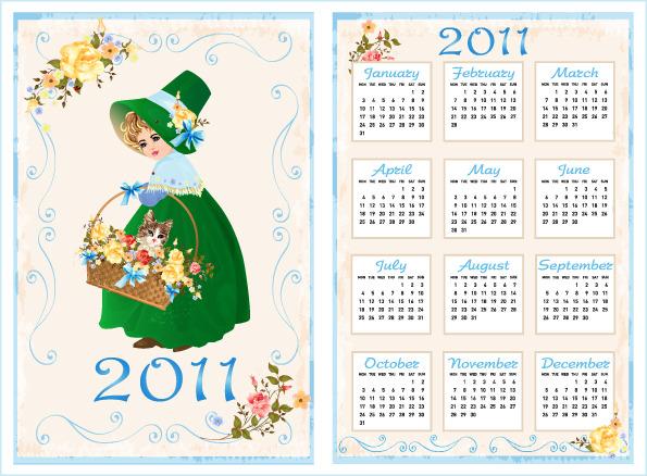 2011年日历模板矢量图下载图片