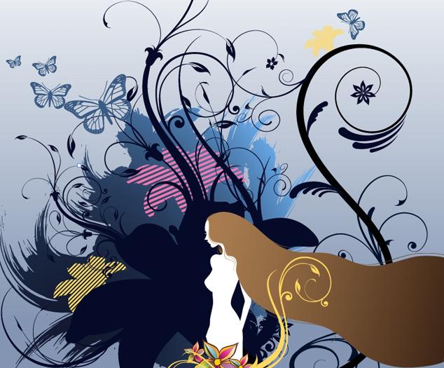 卡通美女花纹矢量图下载