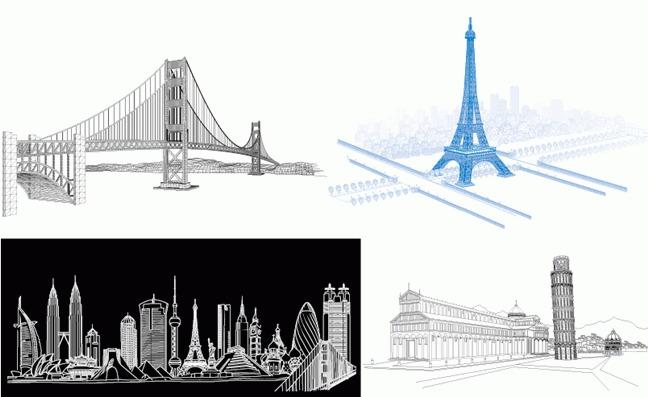 4款线描著名建筑物矢量图