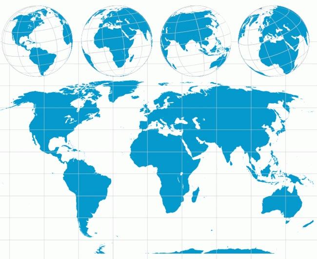 世界地图与地球矢量图
