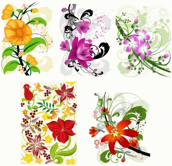 5款手绘花朵花纹矢量图