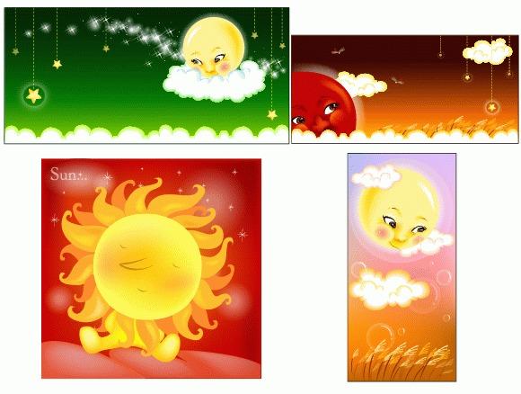 4款ai拟人太阳矢量图
