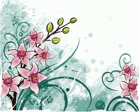 矢量图手绘百合花