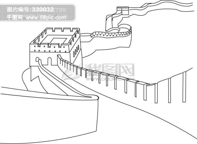 万里长城 线条 绘画-万里长城背景墙 素材公社