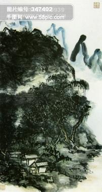 山水画 临摹 作品 水墨 背景 色彩 书法 杰作 黄宾虹作品图片素材免费下