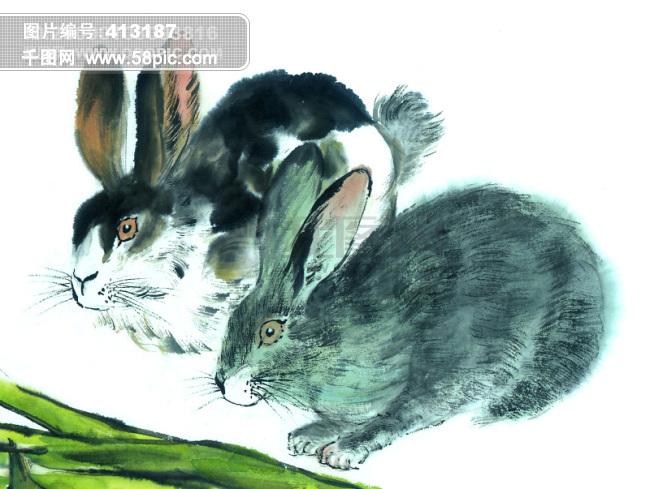 兔子艺术绘画图片_
