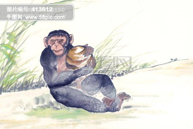 中华艺术绘画_古画_动物绘画_猴子_鹿_老虎_熊猫_鸭子