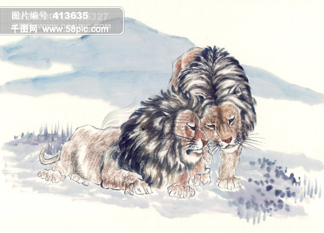 关于老虎的古画