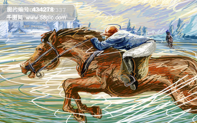 线条手绘人物之赛马