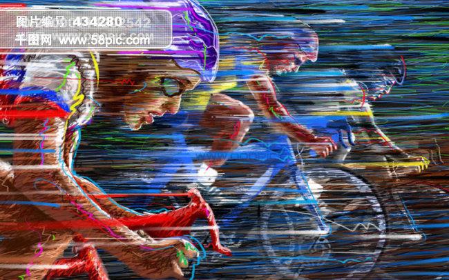 自行车比赛手绘