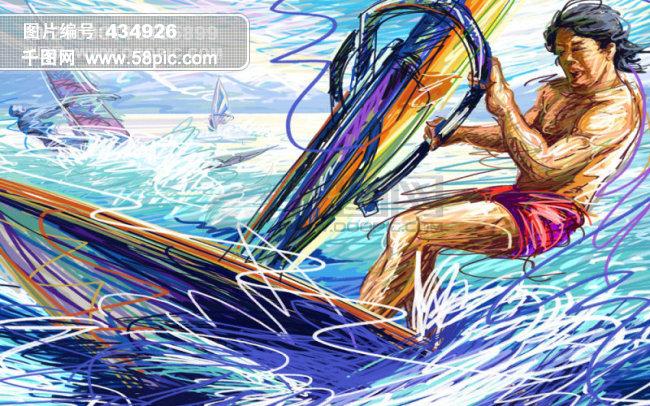 线条手绘人物之帆船