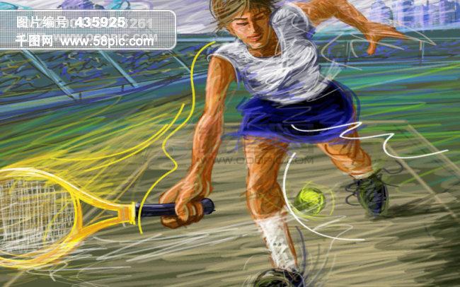 线条手绘人物之网球