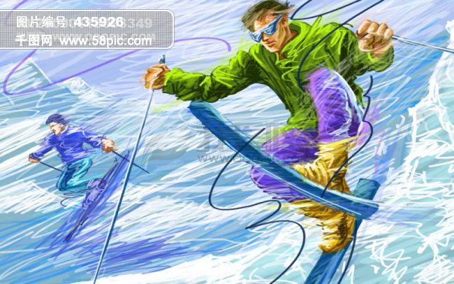 线条手绘人物之滑雪