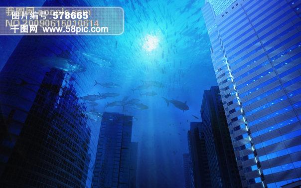 海底城市背景图片