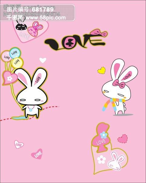 卡通图片,卡通兔子,粉色