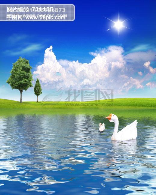 中国元素,仙鹤,丹顶鹤,太阳,卡通图片,卡通仙鹤,云彩,河水,湖泊,草地