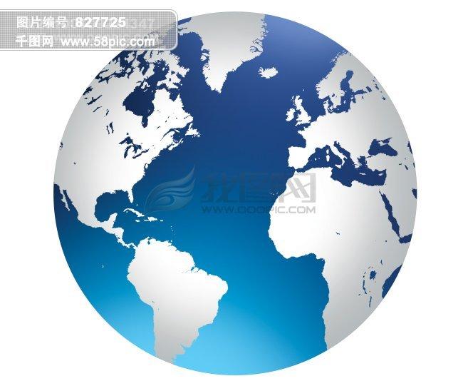 世界地图地球图标高清桌面壁纸蓝色星球