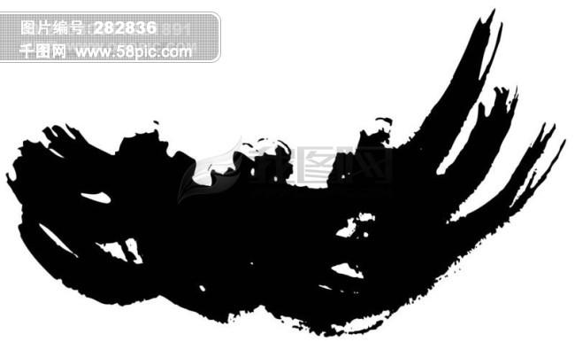 黑白手绘花横条