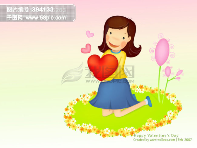 情人节卡通人物背景图片素材