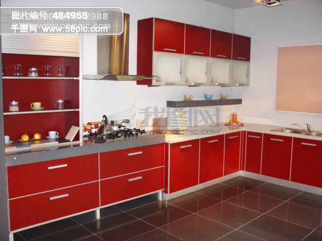 明快红白色调厨房图片