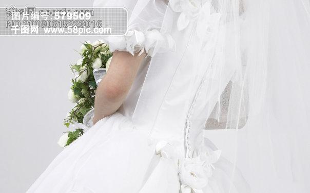 新娘背影 捧花