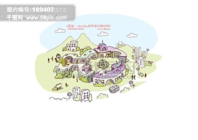 线条城市风景 卡通城市漫画手绘 hanmaker韩国设计素材库