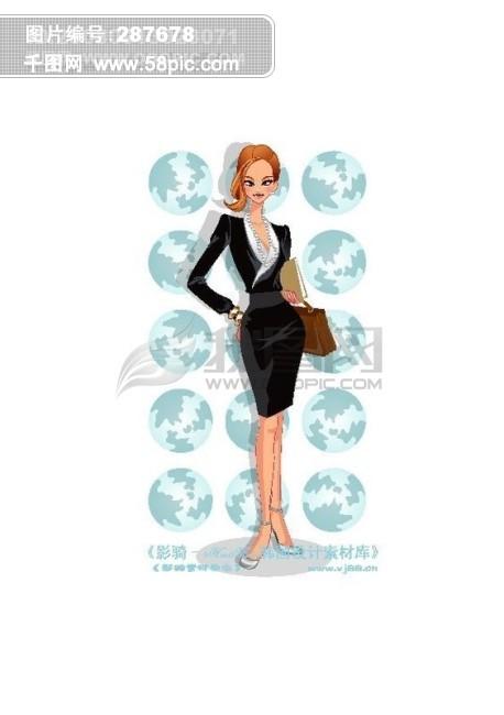 办公女郎 商务女性女人 卡通人物 矢量素材矢量图片 hanmaker韩国设计