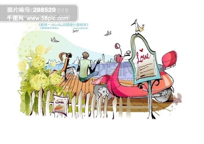 时尚女孩插画 手绘人物 矢量素材矢量图片 hanmaker韩国设计素材库