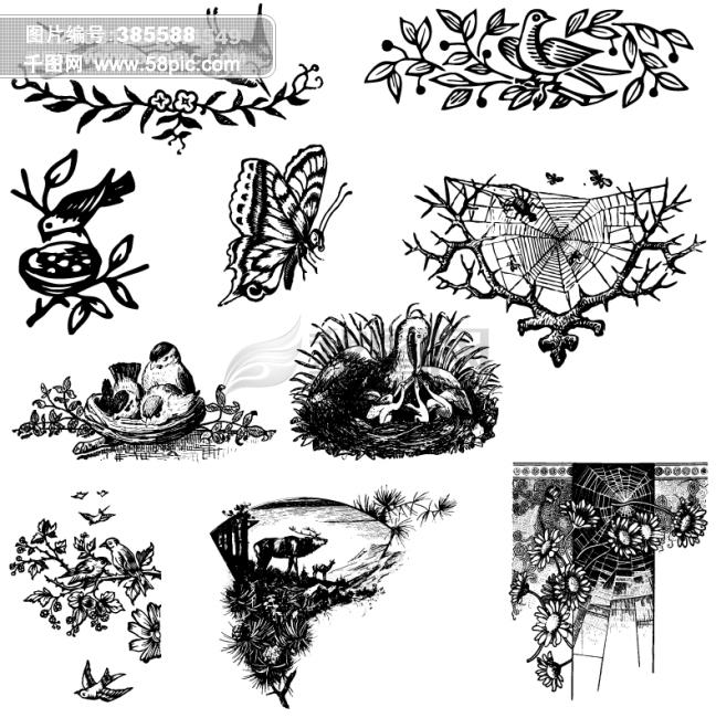 花纹装饰i类欧美古典线条矢量素材