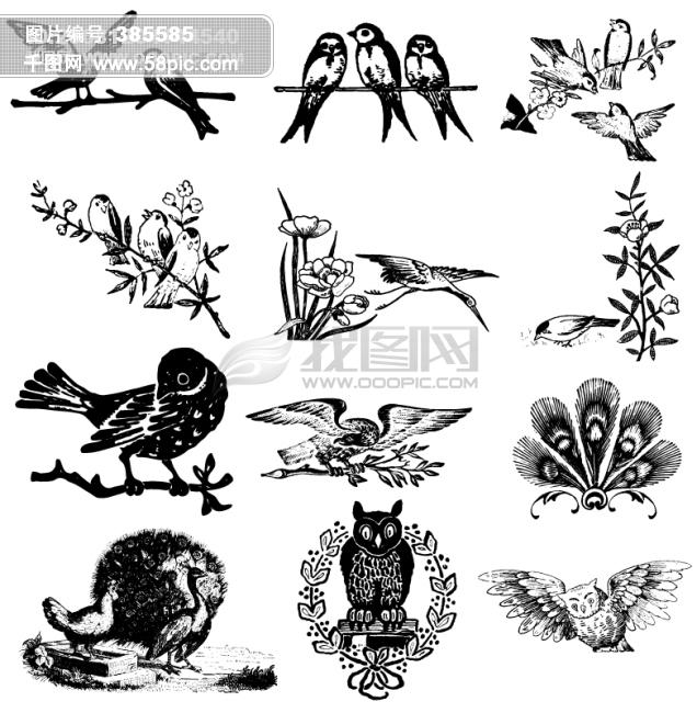 欧洲古典素材 矢量素材 线条素材 素描素材 动物矢量素材库 欧美非